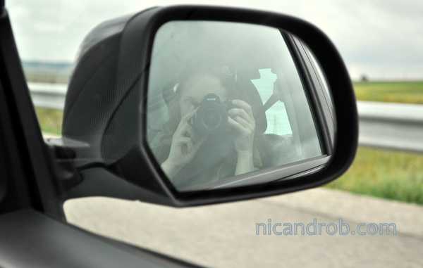Nic in the rental car