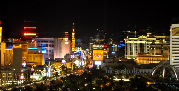 Up the strip, at night