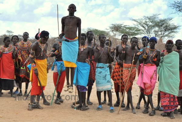 Samburu tribe warriors, dancing