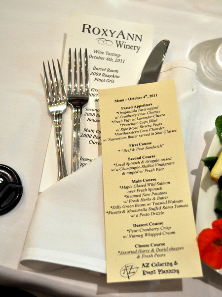 RoxyAnn Winery Menu