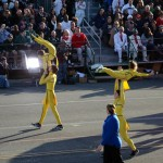 Two pairs of very impressive gymnasts. I can't believe they pulled these stunts off while walking the parade route!
