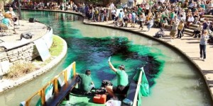 Green Rivers in Chicago, San Antonio for St Patrick's Day